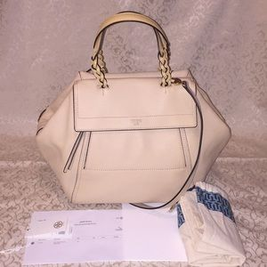 💯 Authentic Tory Burch Large Half Moon Satchel